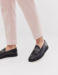 House Of Hounds Bowie Stud Loafers In Black Hi Shine Leather
