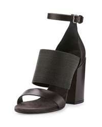 Brunello Cucinelli Monili Leather Block Heel Sandal Chocolate