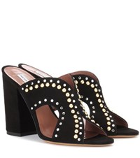 Tabitha Simmons Celia Embellished Suede Mules Black