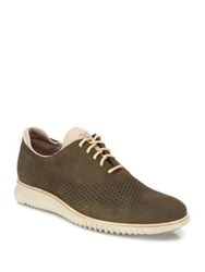 Cole Haan Perforated Nubuck Oxfords Brown