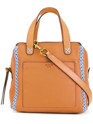 Tory Burch Mini Whipstitch Satchel Brown