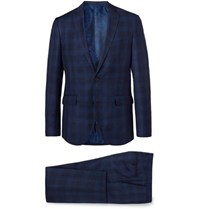 Etro Navy Slim Fit Checked Wool Cotton And Linen Blend Suit Navy