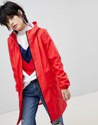 Pieces Longline Rain Jacket Red