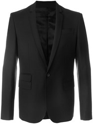 Les Hommes Formal Blazer Polyester Spandex Elastane Viscose Virgin Wool Black