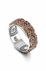 John Hardy 'Classic Chain' Braided Two Tone Band Ring Bronze Silver
