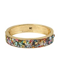 Kenneth Cole Multi Colored Sprinkle Shell Hinged Bangle Bracelet