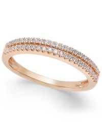 Macy's Diamond Double Row Band In 1 4 Ct. T.W. In 14K White Yellow Or Rose Gold