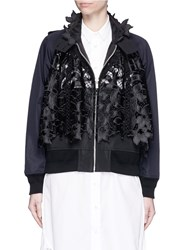 Sacai Floral Embroidery Lace Trench Bomber Jacket Black Multi Colour