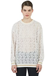 Stella Mccartney Oversized Rose Lace Sweater Pink