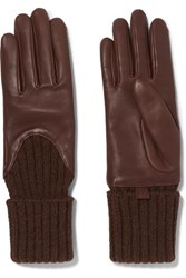 Agnelle Leather And Ribbed Cashmere Gloves Brown