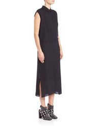 Alexander Wang Point Collar Pinstripe Dress Black