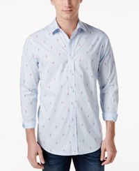 Club Room Men's Flamingo Print Shirt Only At Macy's Pale Ink Blue