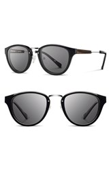 Women's Shwood 'Ainsworth' 49Mm Acetate And Wood Sunglasses Black Silver Grey