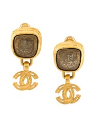 Chanel Vintage Cc Logo Stone Clip On Earrings Metallic