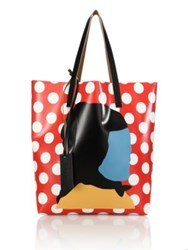 Marni Etka Print Polka Dot Leather Shopping Bag Red Brown