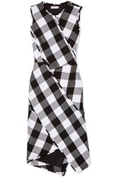 Altuzarra Gina Gingham Wool Blend Twill Dress Black