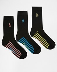 Penguin 3 Pack Black Socks With Contrast Footbed In Stripe Print Black Yellow Blue