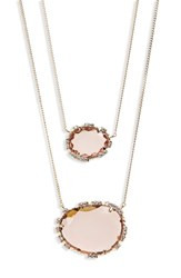 Serefina Crystal Pendant Layered Necklace Rose