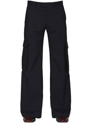 Martine Rose 34Cm Flared Virgin Wool Cargo Pants Navy Check
