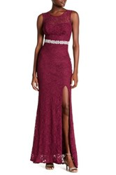 City Triangles Sparkling Lace Gown Red