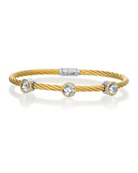 Charriol 18K Gold And Stainless Steel Stackable Bangle With White Topaz No Color
