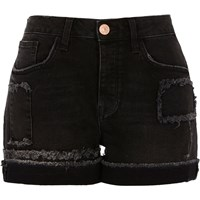 River Island Womens Washed Black Frayed Patch Boyfriend Shorts