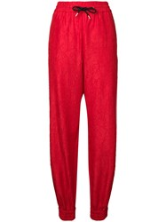 Msgm Arrow Detail Track Pants Red