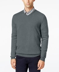 Club Room Big And Tall Cashmere V Neck Solid Sweater Shark Eye Heather