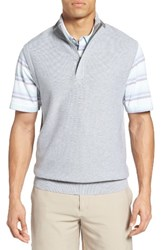 Bobby Jones Men's Pique Jersey Quarter Zip Golf Vest Heather Grey