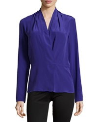 Nicole Miller Pleated Shoulder Long Sleeve Blouse Ultra Blue