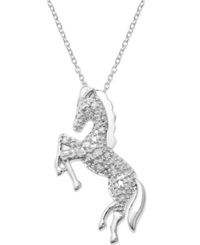Macy's Diamond Horse Pendant Necklace In Sterling Silver 1 10 Ct. T.W.