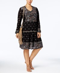 Style And Co Plus Size Mixed Print Fit Flare Peasant Dress Created For Macy's Boho Band Black