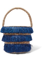Kayu Lolita Mini Fringed Woven Straw Tote Navy