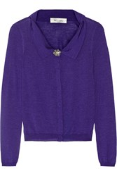 Valentino Cashmere Silk And Wool Blend Cardigan Purple