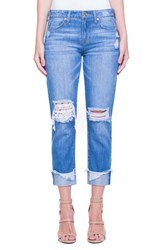 Liverpool Jeans Company Kennedy Distressed Raw Hem Crop Boyfriend Jeans Gramercy Patched