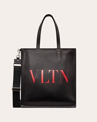 Valentino Garavani Uomo Vltn Leather Tote Bag Man Black Pure Red 100 Pelle Bovina Bos Taurus Black Pure Red