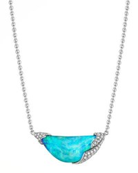 Mimi So Zozo 18K White Gold Diamond Opal Pendant Necklace