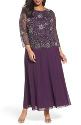Pisarro Nights Plus Size Women's Embellished Mock Two Piece Long Dress