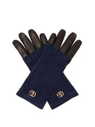 Gucci Gg Suede Gloves Blue