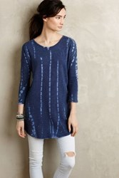 Anthropologie Dashed Terry Tunic Blue Motif