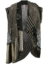 Antonio Marras Embroidered Sleeveless Jacket Women Cotton Linen Flax Polyester Viscose M Black