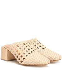 Loq Ines Woven Leather Mules Beige