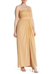 Marina Strapless Ruched Gown Plus Size Metallic