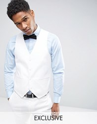 Only And Sons Super Skinny Waistcoat In Cotton Sateen White