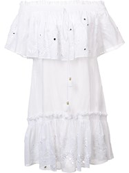 Roberto Cavalli Smocked Off The Shoulder Dress White