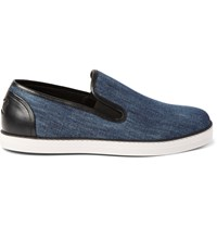 Bottega Veneta Leather Trimmed Denim Slip On Sneakers Blue
