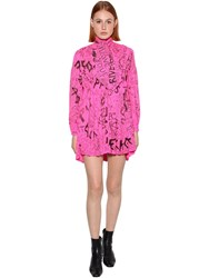 Balenciaga Printed Technical Crepe Baby Doll Dress Fluo Pink