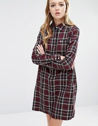 Fred Perry Tartan Check Shirt Dress Mahogany Brown