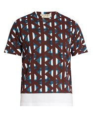 Marni Thrump Print Cotton T Shirt Blue Multi