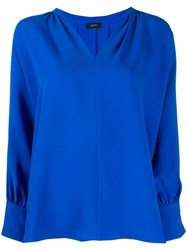 Joseph Alma V Neck Blouse Blue